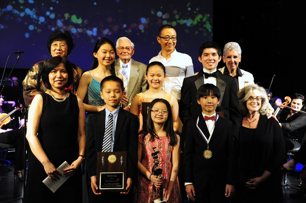 Maestra Lin, Trustee Saverio Greco, Jim Huang of the Kai Yue Foundation, Bravura president Myrna Reiter, and competition chairpersons Wendy Wu and Ellen Fisher-Deerberg with the winners