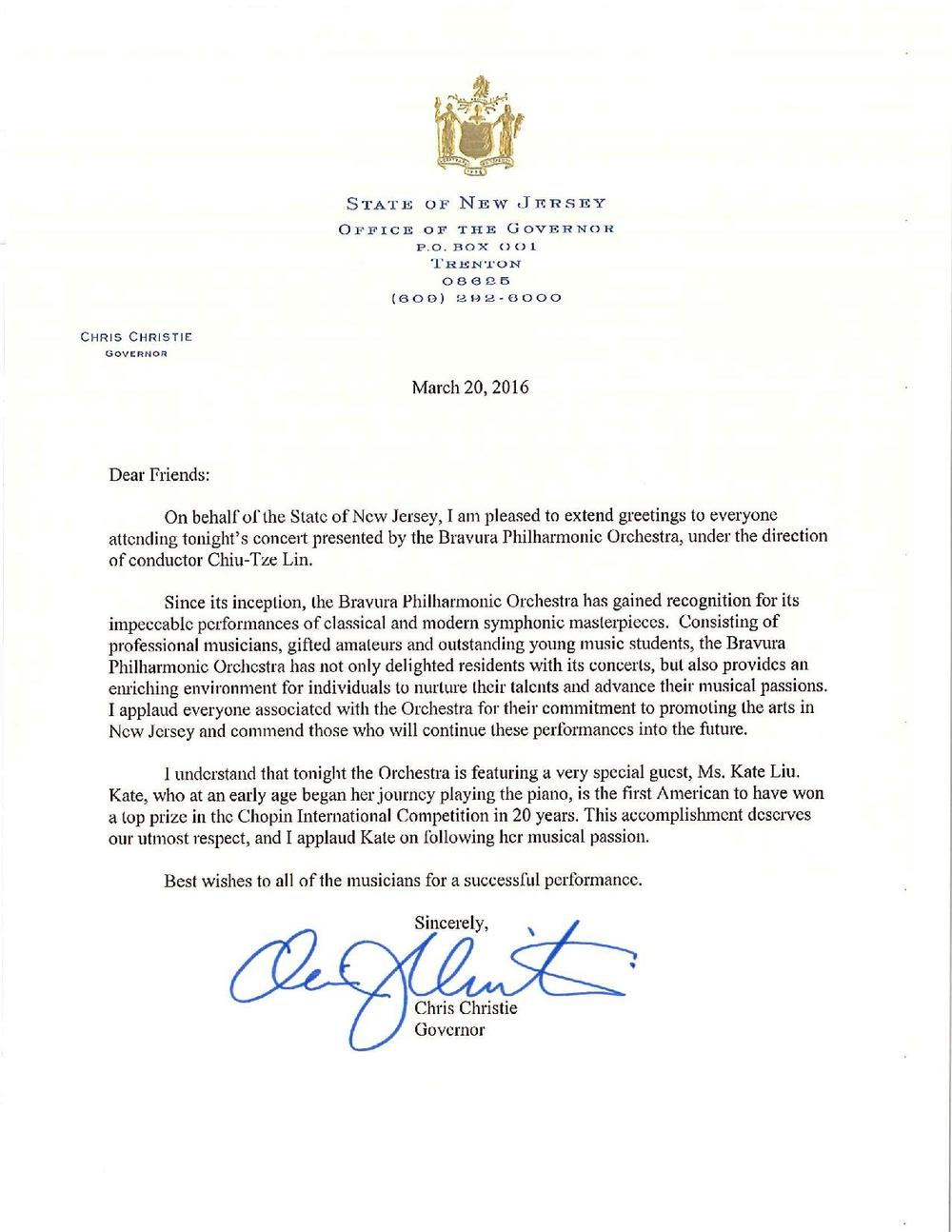 Letter from New Jersey governor Chris Christie