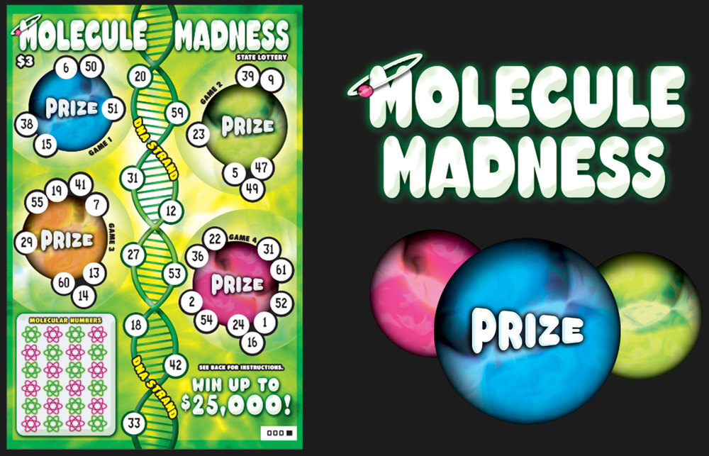Concept Molecule Madness lottery ticket with space theme