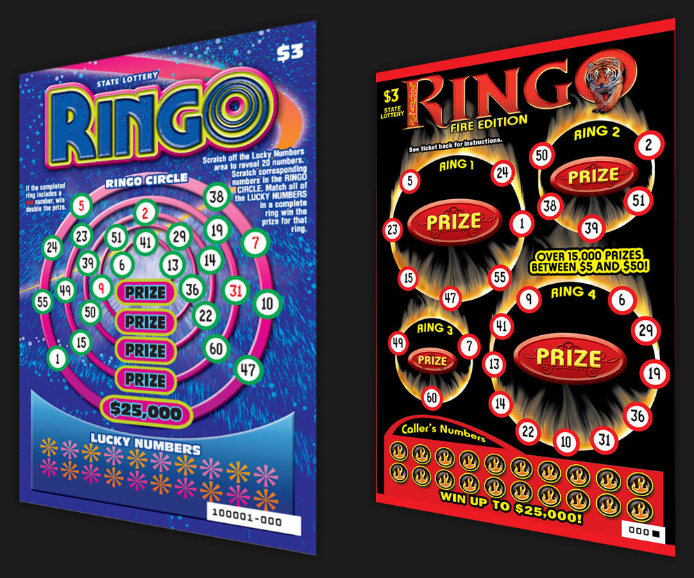 Concept bingo ticket created with space theme and fire theme. Ran for the Oregon and West Virginia Lottery.