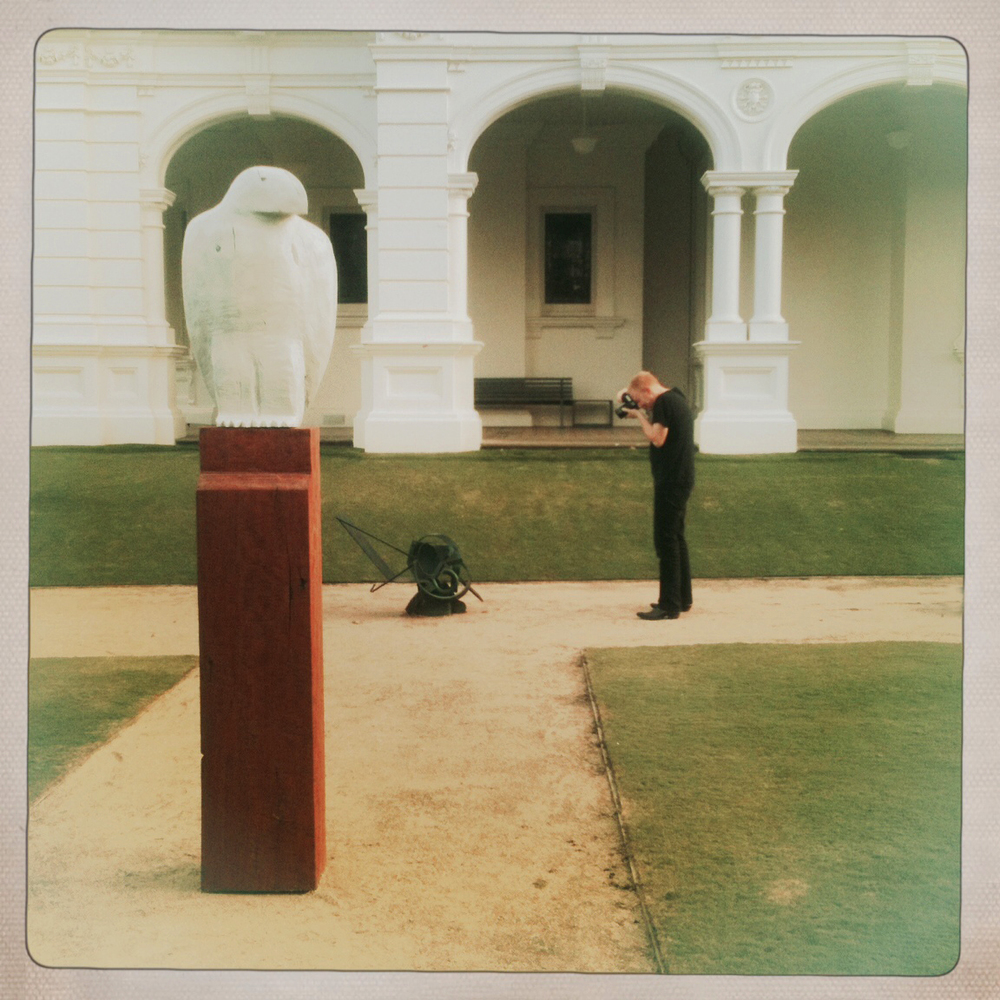 Nick shooting a sculpture, Stonnington, Melbourne, 2014. Photo courtesy David Burrows.