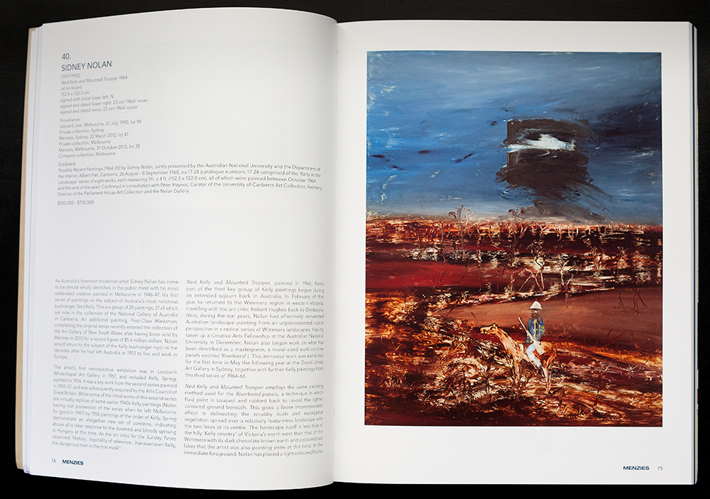 Spread featuring a Nolan painting.