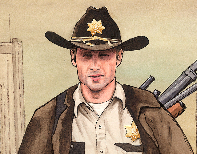 Rick Grimes, played by actor, Andrew Lincoln