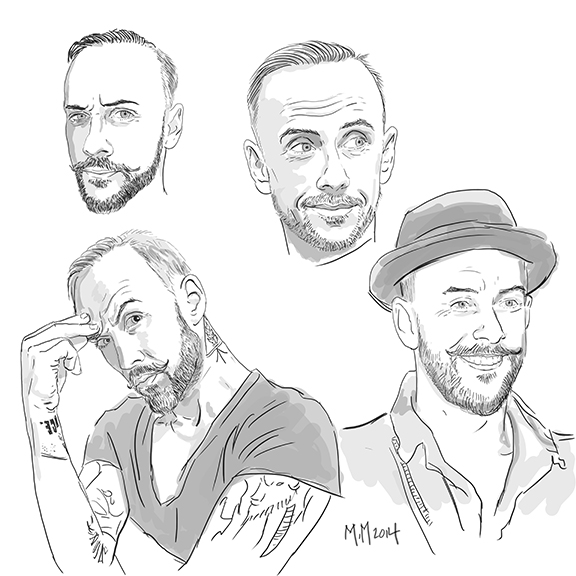 "Sketch studies of Adam ""Nergal"" Darski, controversial polish celebrity and front man of extreme metal band, Behemoth. He saw this on Instagram and contacted me to ask if he could re post on his Facebook page."