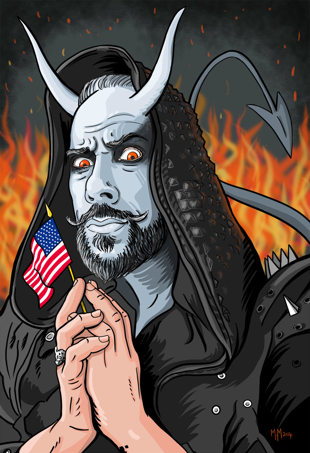 Finished illustration of Nergal for the US Behemoth tour. I used this in an email campaign geared toward art directors in the music, arts and entertainment industry. I emailed it to him and he wrote me back, telling me how much that he loved it and also posted it on his Facebook and Instagram pages and hundreds of people saw it. Thanks Nergal!