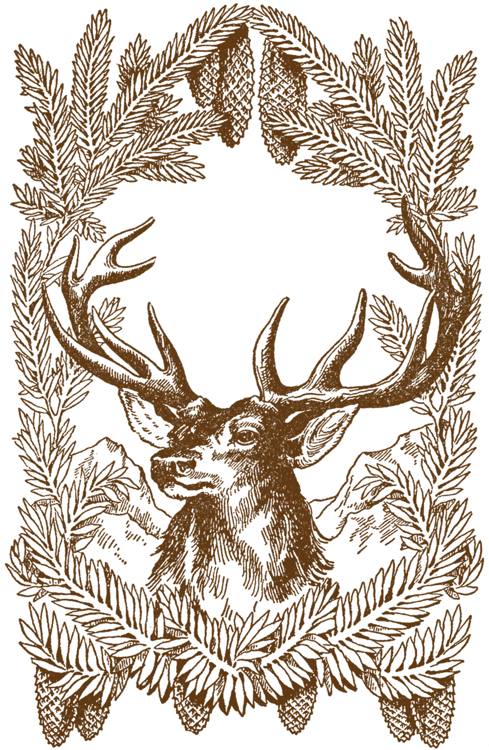 Vintage holiday deer art - unknown artist.