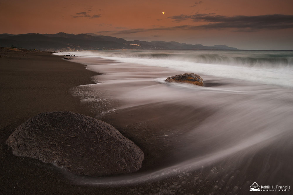 Rocks, Surf, Foam and Moon