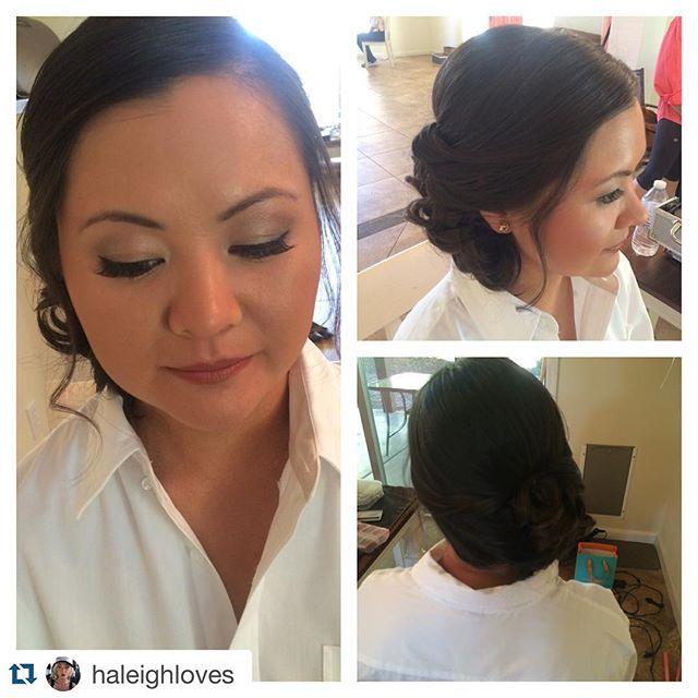 #Repost @haleighloves with @repostapp. ・・・ Bridal hair and makeup! Love a good side updo! So romantic! #weddings #arcadia #scottsdalewedding #naturalmakeup #bride #bridal #hmua #mua #mac #parkaveblowdry #thebigday