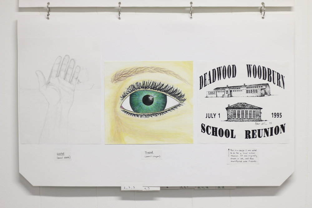 Untitled (Pencil Sketch), 1999, Pencil  Trapped, 1999, Pencil Crayon  Deadwood Woodburn School Reunion (Repro), 1995, Ink