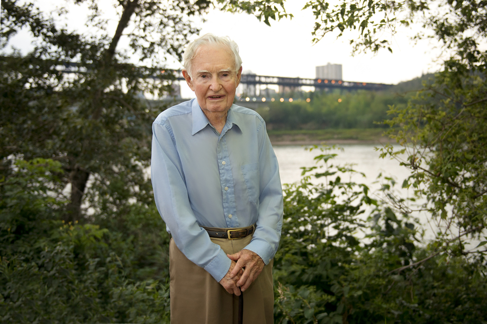 The Author, a sharp 91 years young, on the bank of the North Saskatchewan River overlooking the High Level Bridge, not far from the former site of John Walter's Ferry. This portrait was taken as part of the Author's investiture with the Alberta Order of Excellence.