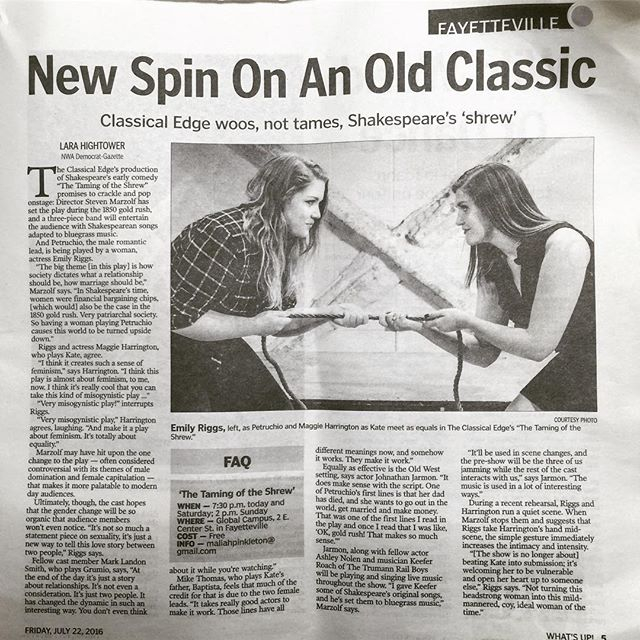 Extra, Extra, Read all about it! We're featured in the Democrat Gazette today in the What's Up section. #nwademocratgazette #theatre #thetamingoftheshrew #shrewcrew