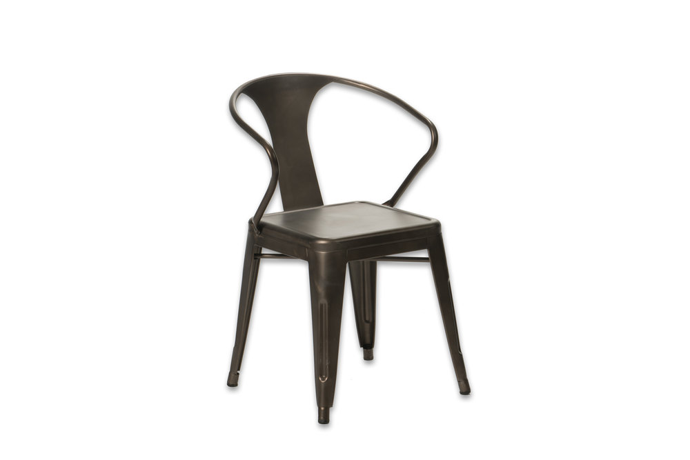 BRONZE METAL TABOURET CHAIRS   ARMS