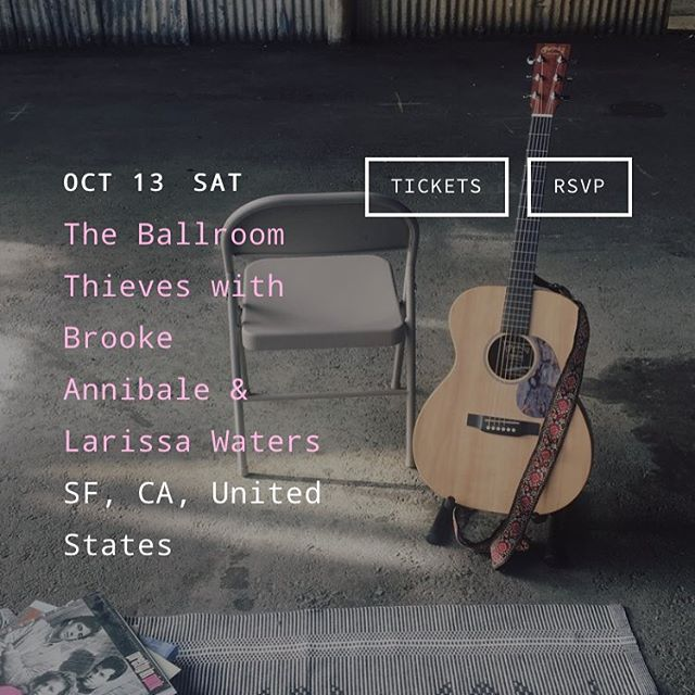 Didn't make it to Bottom of the Hill on Friday? Did make it and can't wait for the next one?? Well, you're in luck: I'll be back next month opening an amazing night of music with @ballroomthieves and @brookeannibale. Tickets on sale (link in bio) so get em! #larissawatersmusic #womenwhorock #sfmusic #bottomofthehill @bottomofthehillsf