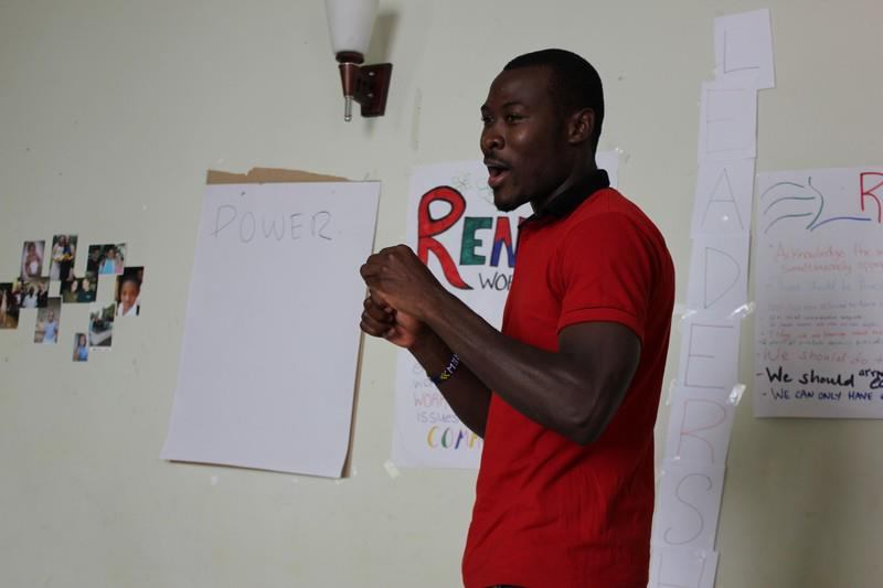 Uswege leading a discussion on leadership and power, at our first workshop with scholars from The Foundation for Tomorrow in Arusha.