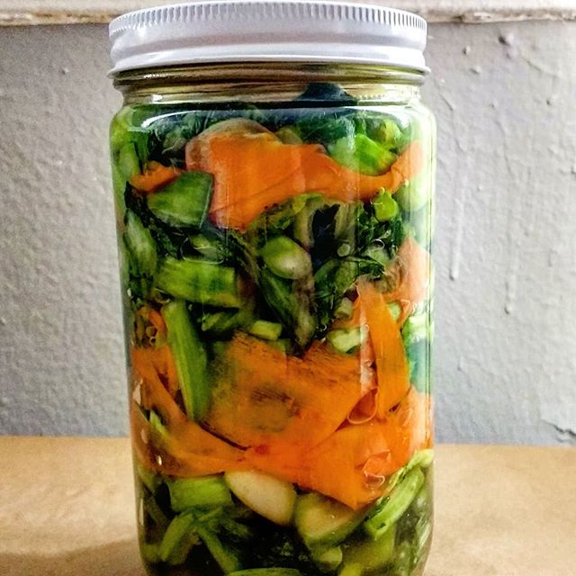 Pickled greens with carrot.  A preview of one of the things you'll be making in our next level class (Shan Kao Swe/5 Spice Tomato Pork Noodles) from our Noodle Series. Dates + more info coming.  Thanks to everyone who attended Saturday's cooking class!  New dates in April and May for our premiere class are up now! Click the link to sign up.  #burmesefood#burmanoodlebar#burmesenoodles#cookingclasses#prospectleffertsgardens