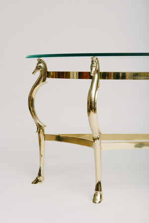ITALIAN BRASS SEAHORSE CONSOLE TABLE MOXIE - Seahorse coffee table