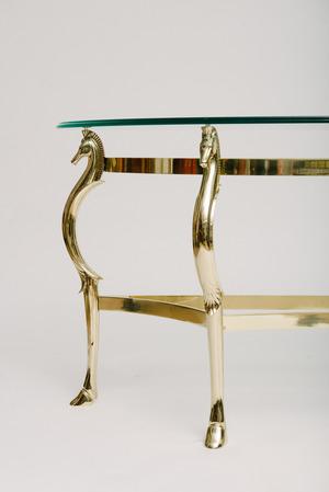 ITALIAN BRASS SEAHORSE CONSOLE TABLE MOXIE - Seahorse coffee table