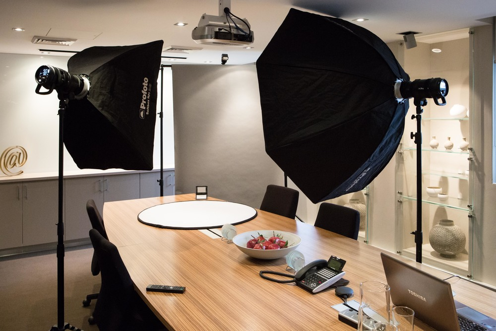 Client's meeting room. This is a typical setup for a corporate client who needs staff headshots for their website.