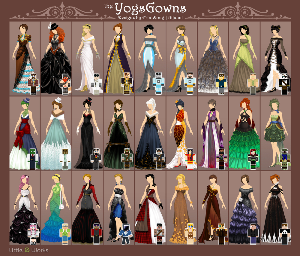 Gowns/dresses inspired by Minecraft avatar skins of UK Gaming channel, the Yogscast.