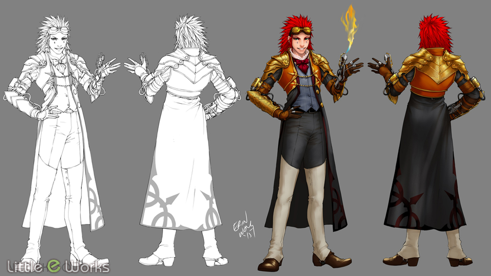 Steampunk Costume design for Axel from Kingdom Hearts Series
