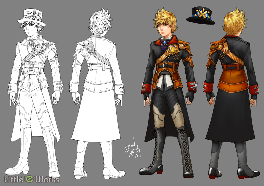 Steampunk Costume design for Roxas from Kingdom Hearts Series