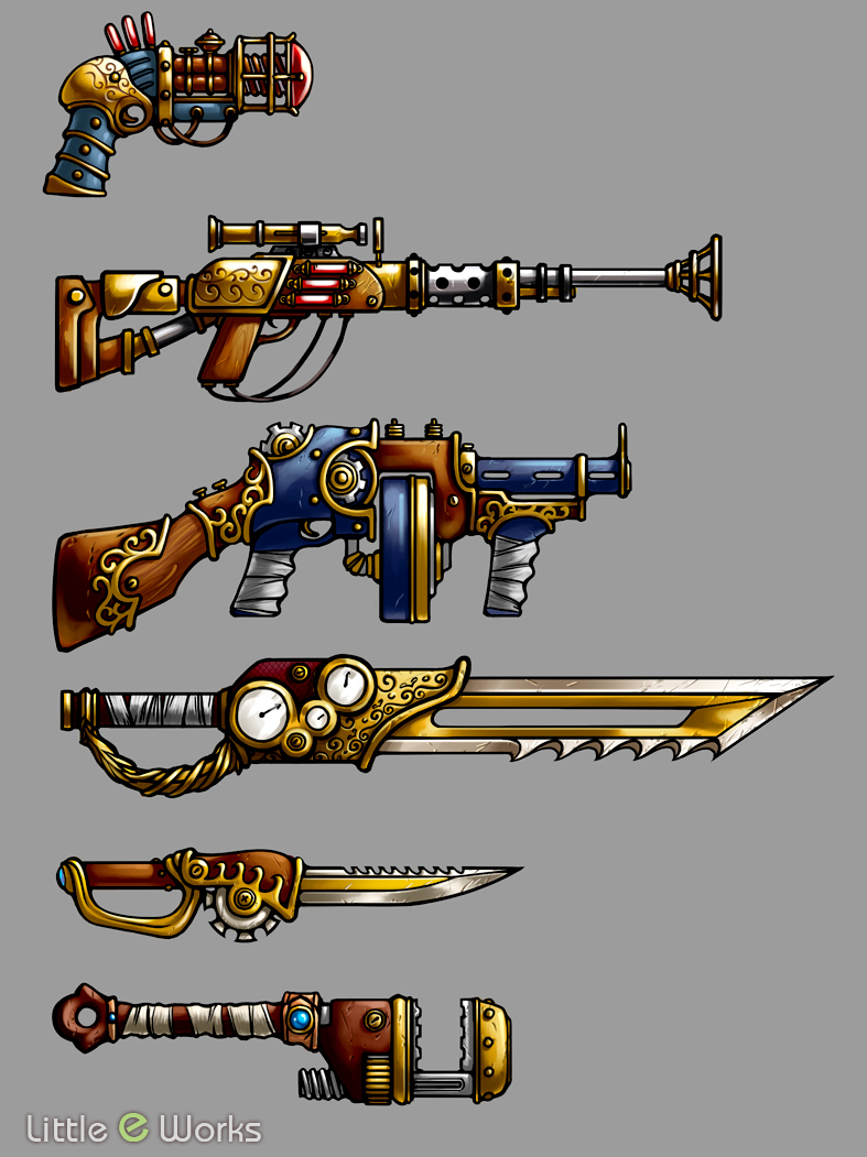 Steampunk Weapons Design concepts