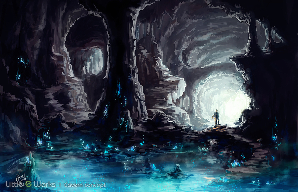 Concept art of a cavern with mysterious pond
