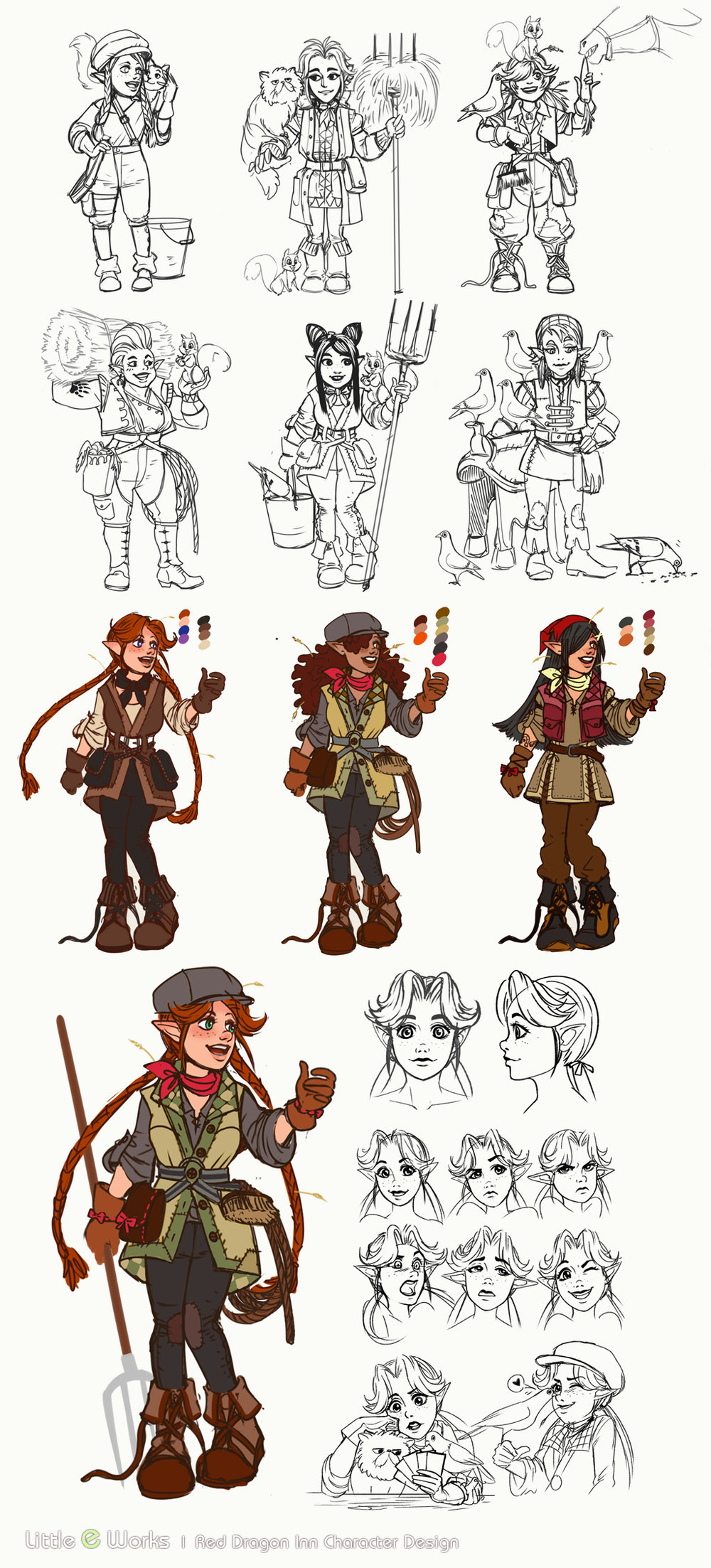 Conceptual sketches for RDI7 character, Molly, the Stablehand