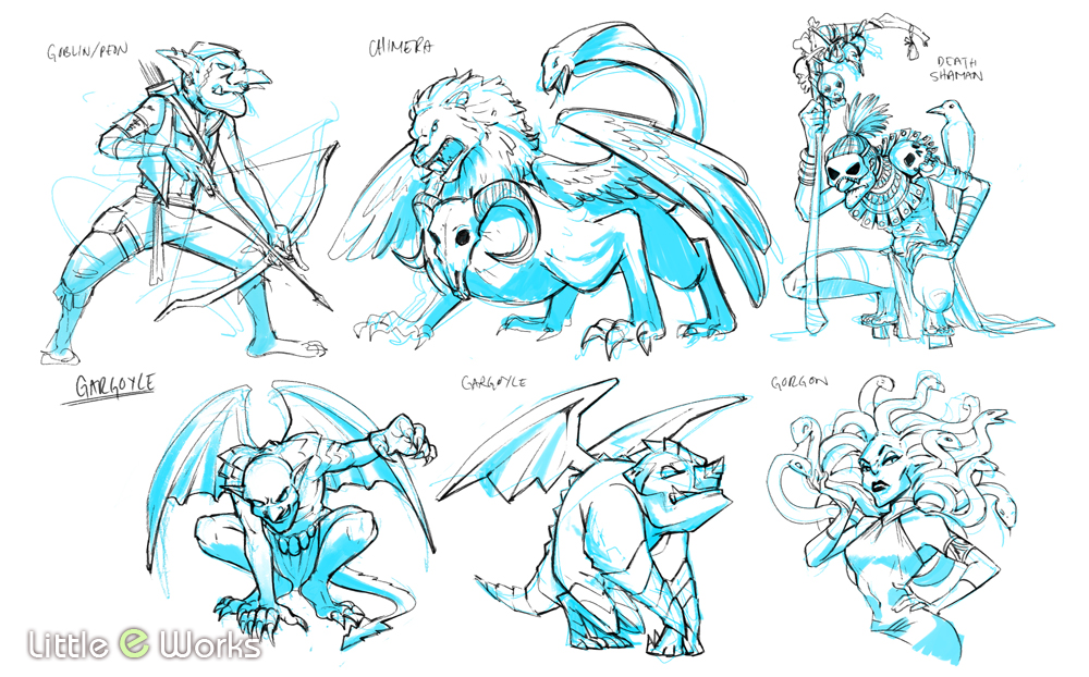 Monster concepts for SlugfestGames' Red Dragon Inn: Battle For Greyport