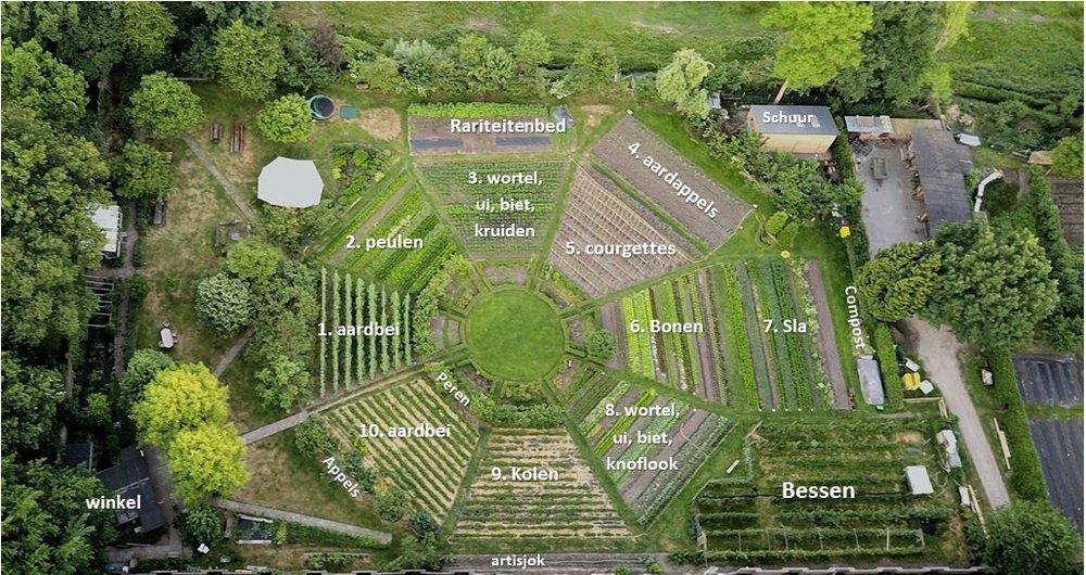 Op de Ommuurde Tuin telen we meer dan 400 verschillende variëteiten groenten, kruiden en fruit, waaronder enkele oude rassen van de zadenbank in Wageningen (CGN).