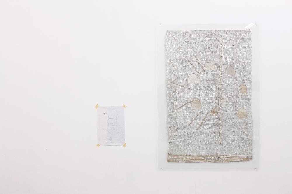Drawing on paper, tapestry (fiberglass, linen, silk)