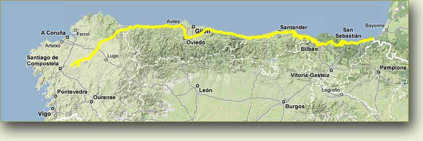 Rough route of Camino Del Norte