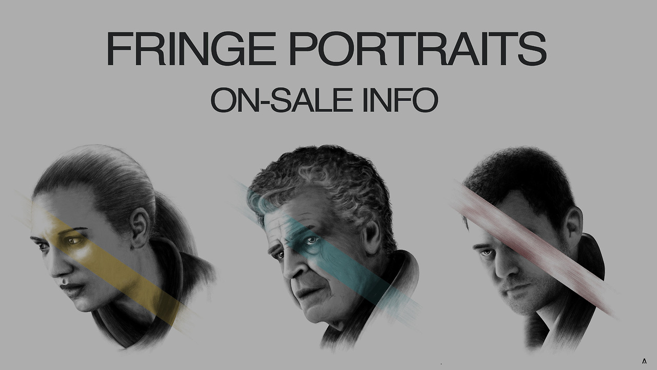"Hey guys so here is some On-Sale Information for my 'Fringe' Portraits! Starting on Thursday my 'Fringe' Portraits will be available to purchase! Inspired by the Cult Sci-Fi/Mystery television show 'Fringe', these are a 5 colour Screen-Printed portrait set of 3 printed by the excellent folks at The Half and Half. Printed on 100lb Steel Blue Cover Construction paper from French Paper. Each portrait is sized at 10"" x 10"" (250mm x 250mm).  The set of 3 portraits will cost a low $70 (Plus Shipping) Each set will be Hand Signed and Numbered. Using a timed release format these portraits will be available to purchase for 1 week only! Meaning come Thursday the 31st of October they will not be available to purchase anymore! Here is the link to my Store Unfortunately due to printing costs, If I do not get more than 15 orders printing will not commence and you will be refunded! So please help get this project off the ground and this product into the hands of fans!  I am very excited by this whole process as this is my first print run so I'm hoping all goes well! Already had a lot of headaches to go along with it so I've been learning a lot from the process too! Here is the time it is available from and until:  From: 10:00am Thursday 24th October 2013 (AEDT Australian) (6:00pm Wednesday 23rd October (CDT Austin, Texas)) Until: 10:00am Thursday 31st October (AEDT Australian) (6:00pm Wednesday 30th October (CDT Austin, Texas)) Thanks everyone! Looking forward to the Sale! Here are links to Facebook, Twitter and my Website for more Information and Updates!"