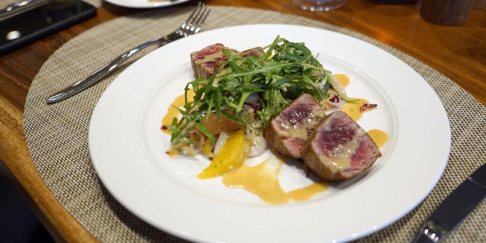 Grilled Tuna at Manfredi's Italian Restaurant on the  Viking Sea .