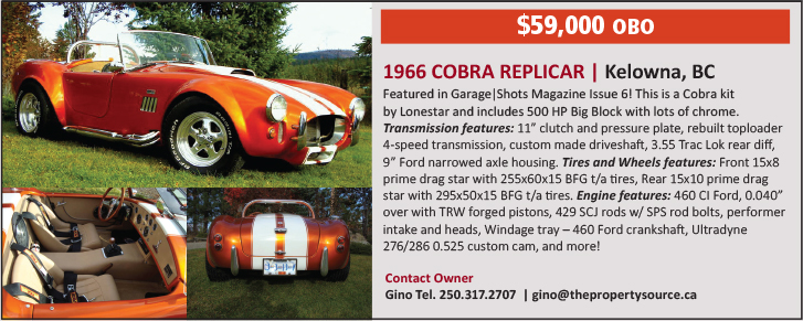 Rides For Sale - Cobra Kelowna Car For Sale
