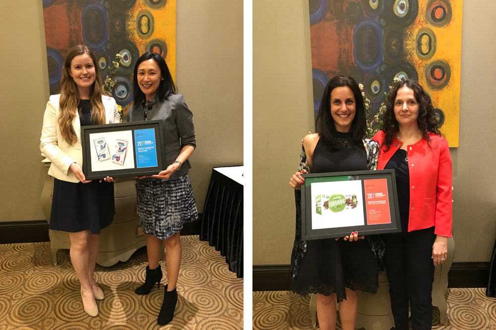Left: Katherine Lorenzo, Associate Brand Manager for Hydro Silk with San Yee Nye, VP Account Director. Right: Natasha Sarracini, VP Account Director and Sandra Abreu, Account Manager with Premier Protein Organic Shakes.