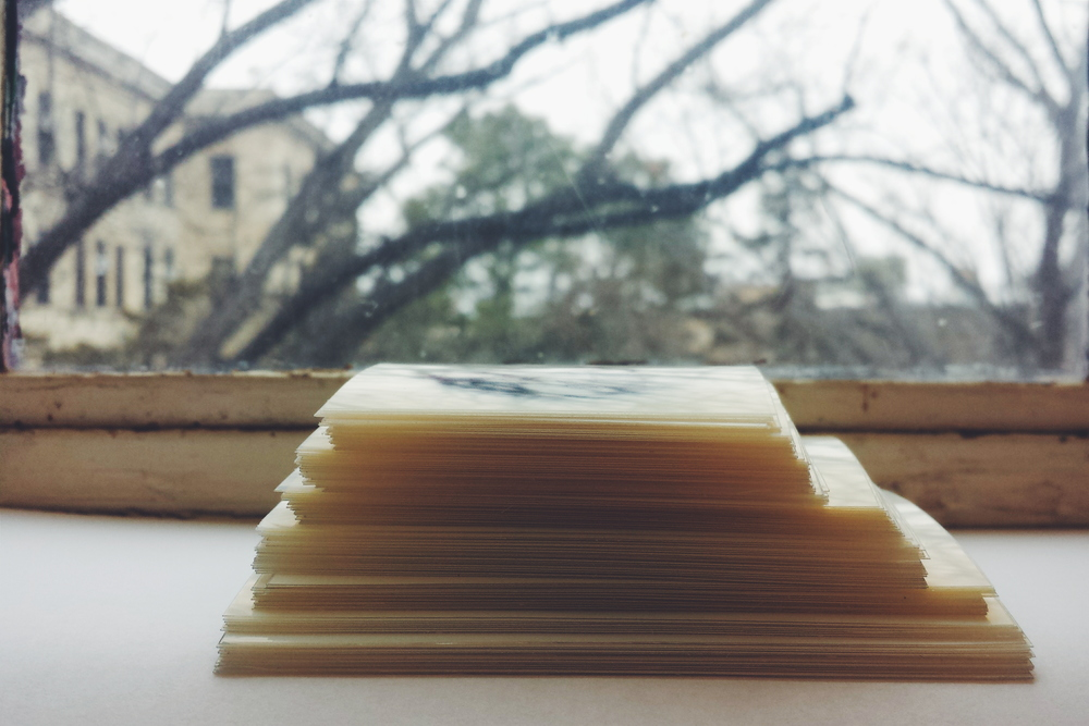 These are the roughly 150 miniature prints that will be part of the installation.