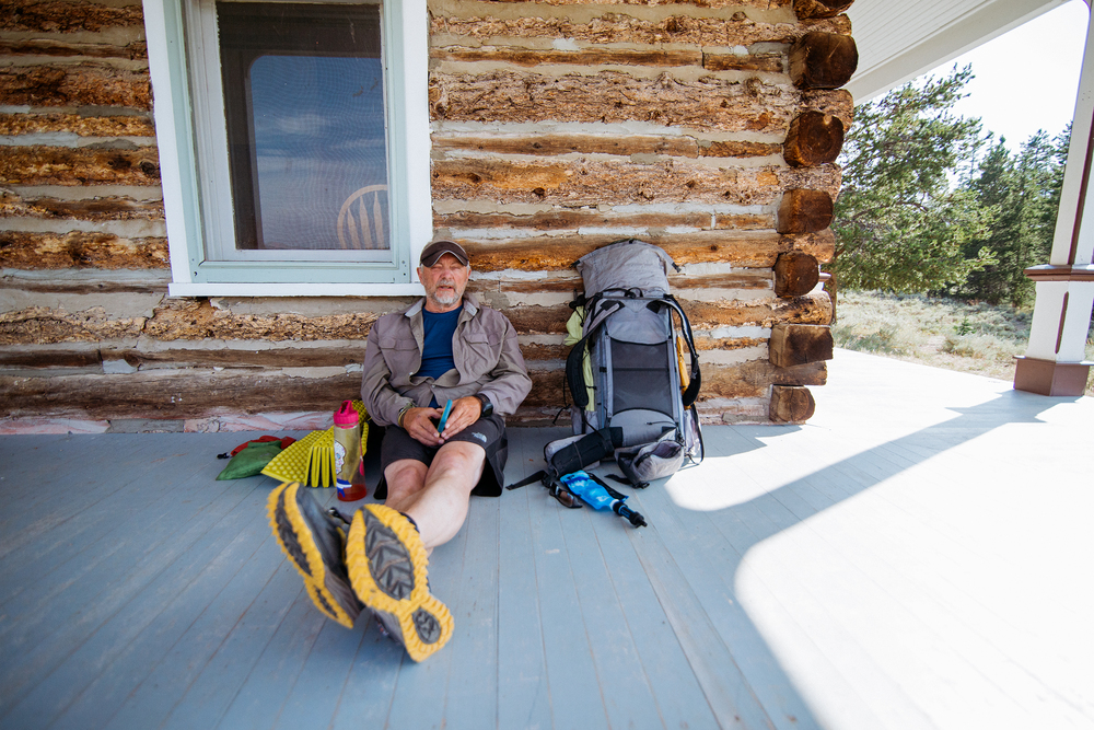 Hiker Resting at Interlaken Historic District in Twin Lakes, Colorado