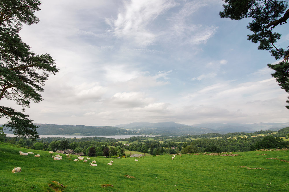 Hiking on farmland near Windermere, Lake District, United Kingdom