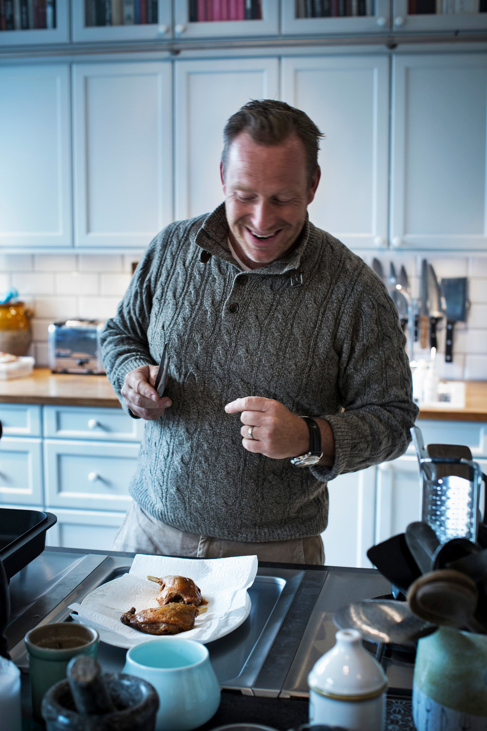 Adam Price builds up the perfect salad with duck confit for an article on his favourite Christmas dishes . He also made us a scoop of homemade vanilla icecream. Sublime.