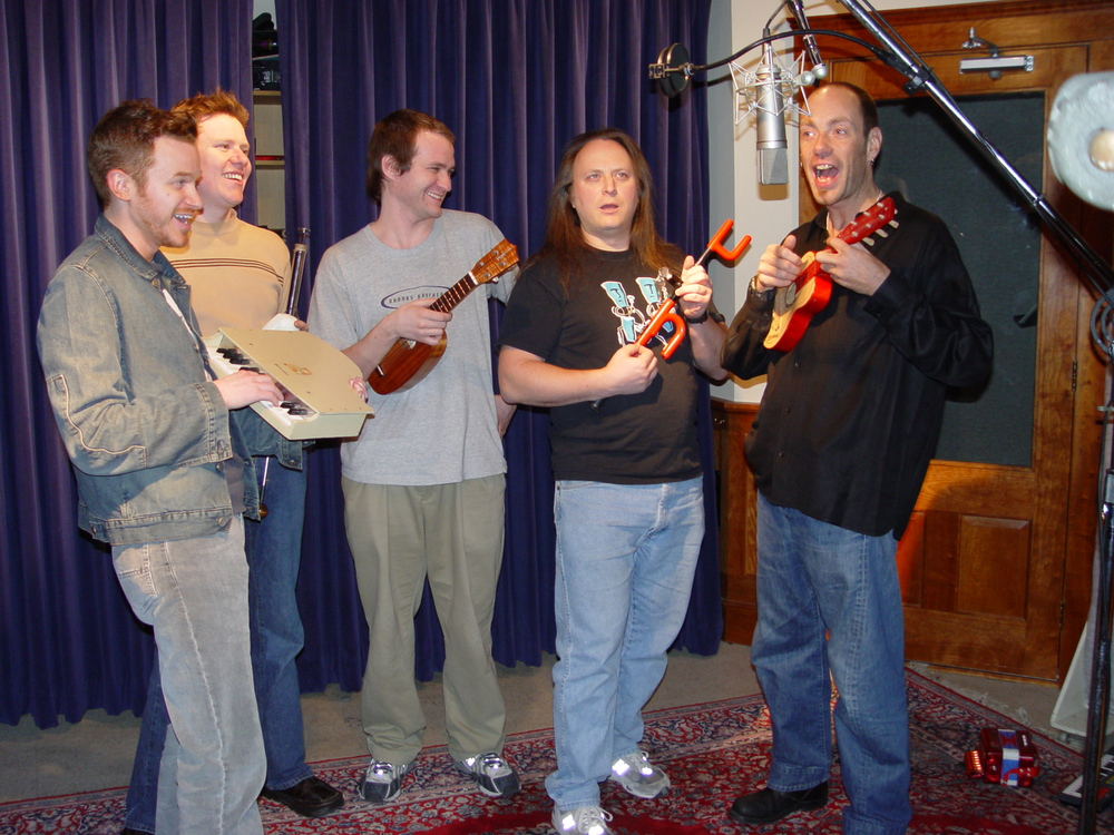 From left: Roy Harter, composer /producer/ engineer; Dan Donnelly, digeridoo; Adrian Henke, ukulele; Rob Schwimmer, theremin; and Stiff Little Fingers bassist Ali McMordie. Not pictured: Mark Stewart from Paul Simon's band and Phil Duffy of Skin Flints.