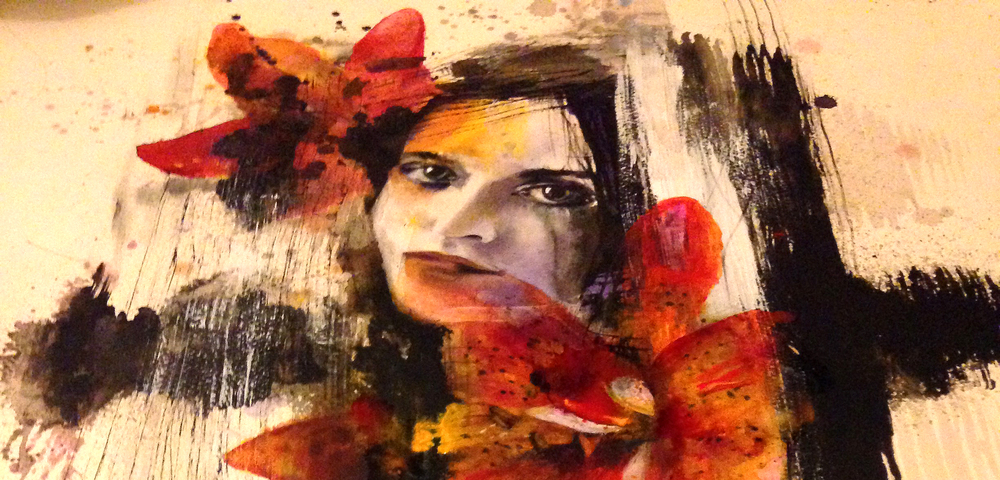Beauty: Portrait with Ink, charcoal and acrylic