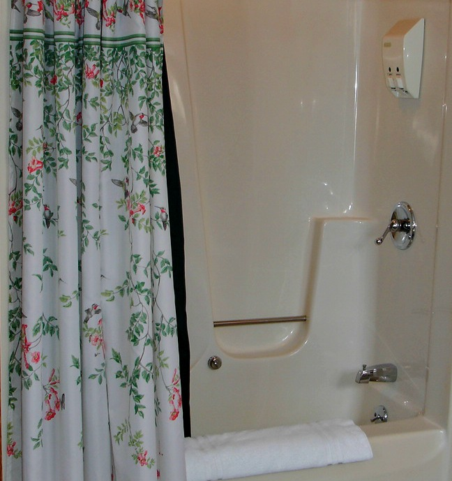 Woodview Room:Shower with whirlpool tub