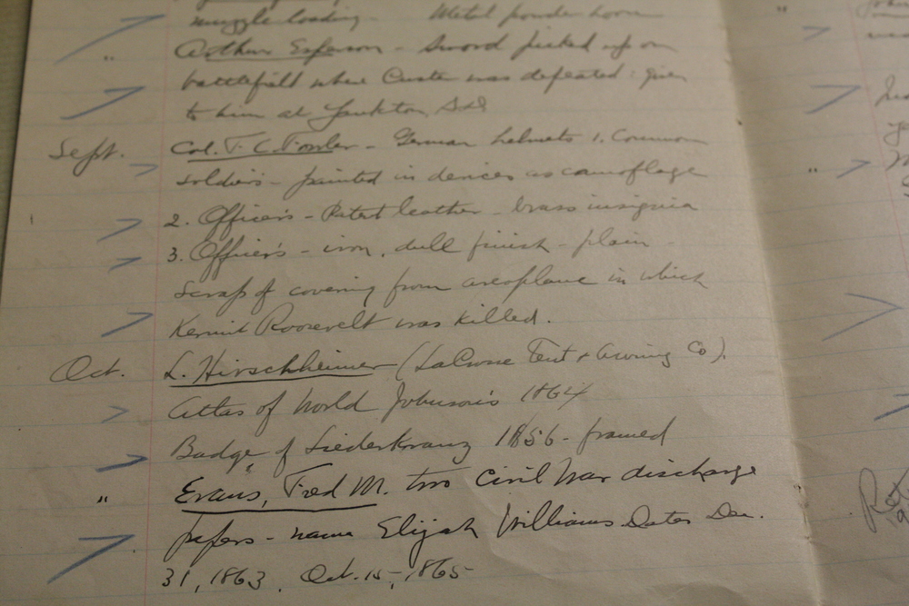This is one page of the small handwritten accounts of donations in the 1920's. The names of the donors are underlined and each description of an object donated is noted with a blue mark.