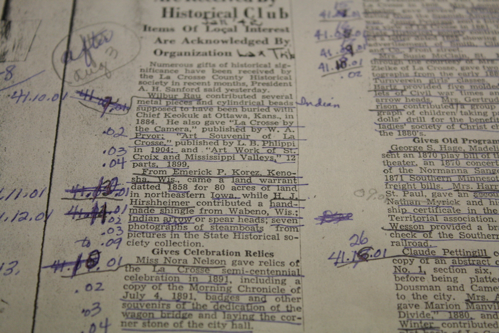 A copy of a La Crosse Tribune article from 1941. A member has underlined the donors names and items donated and given the items their individual numbers.