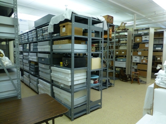 Storage in the new basement collections area.