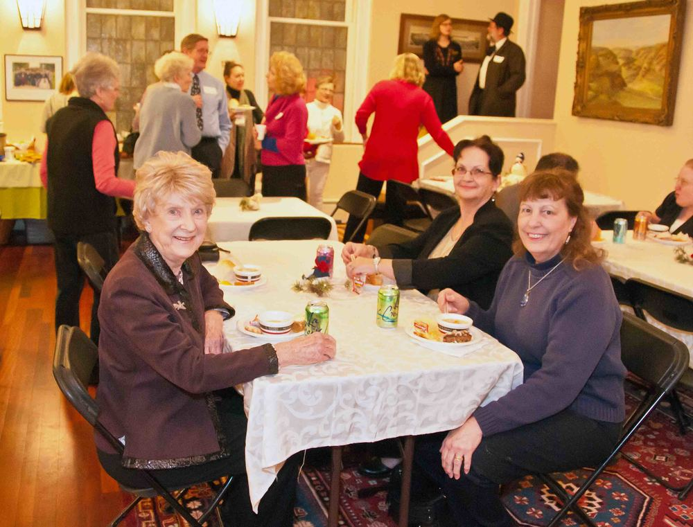 Volunteers enjoy a meal at the volunteer appreciation party.