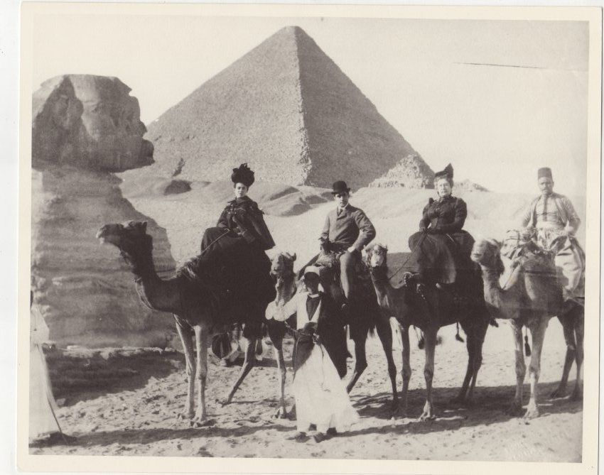 This historic photo includes, from left, May Crosby, Joseph Hixon, Ellen Hixon and an Egyptian guide.