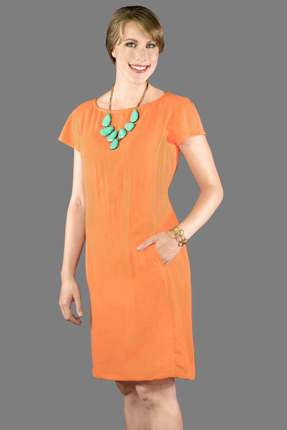 AAD199 - Cap Sleeve Dress    CL3979 - Tangerine