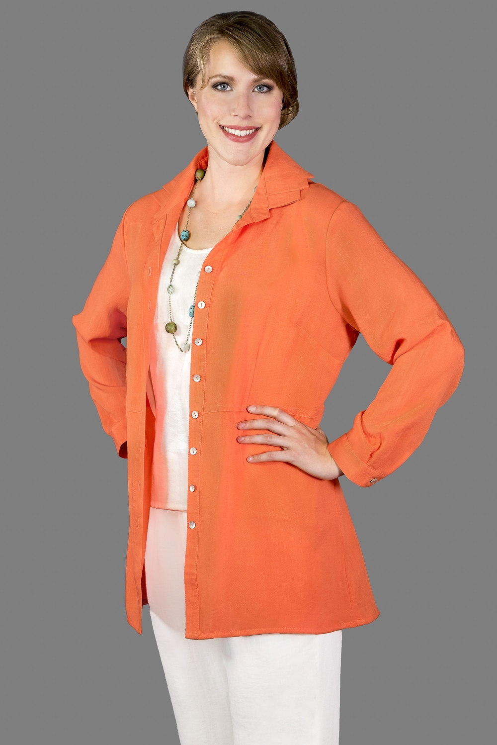 AA169 - Triple Collar Blouse    CL3979 - Tangerine